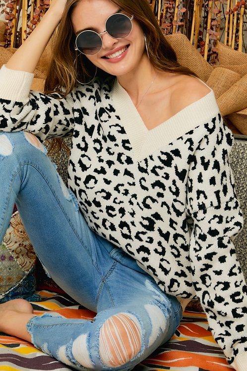 Leopard V Neck Sweater