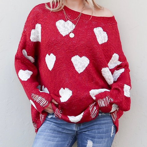 Distressed Hearts Sweater