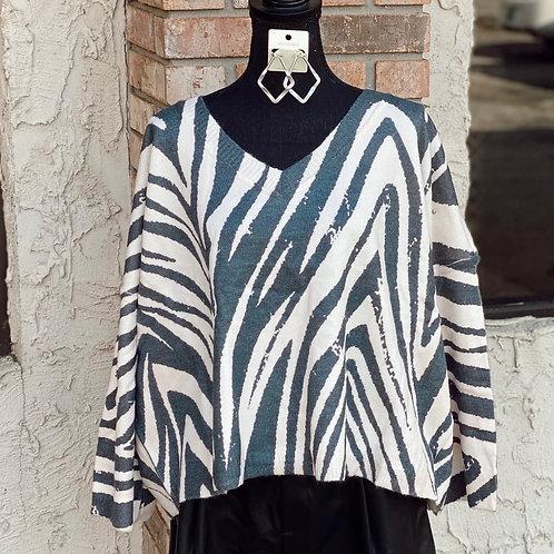 Zebra Print Bell Sleeve Sweater
