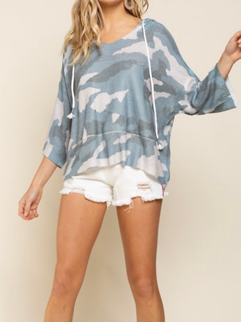 Hooded Knit Camo Top