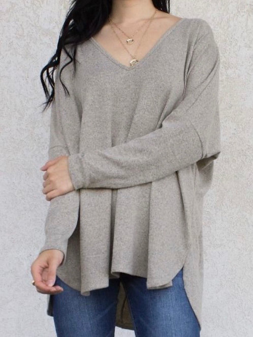 V Neck Sweater - Stone