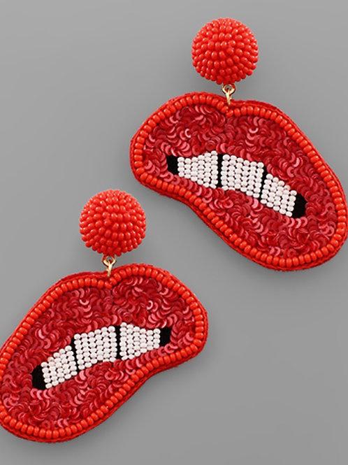 Red Beaded Lips Earrings