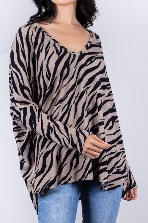 Zebra Print V Neck Top