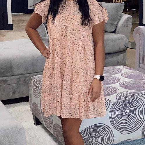 Blush Cheetah Tiered Dress