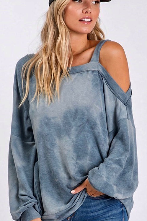 Light Washed Cutout Top