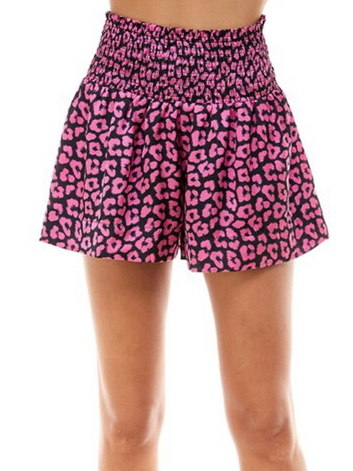Smocked Waist Cheetah Shorts