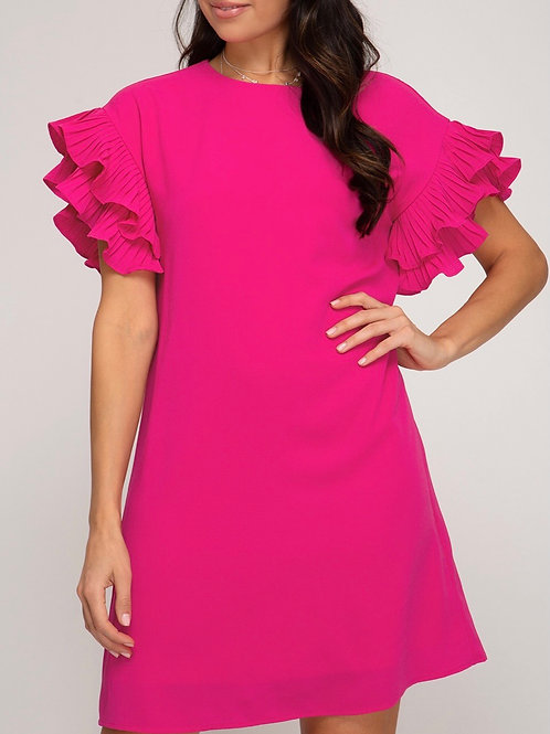 Cherry Pink Ruffled Dress