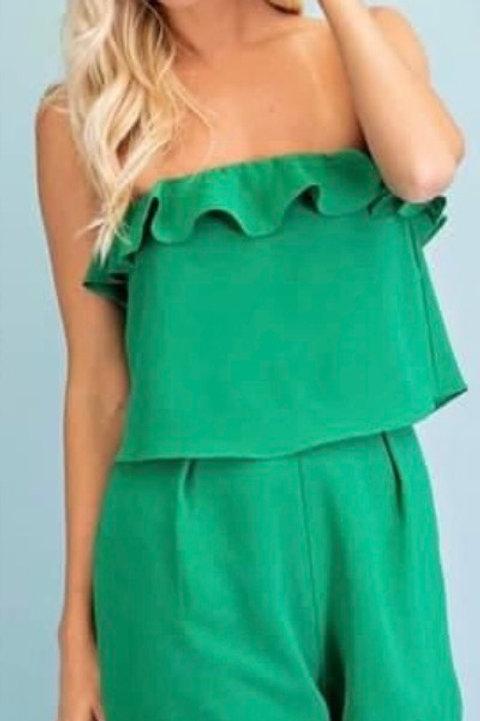 Kelley Green Strapless Romper