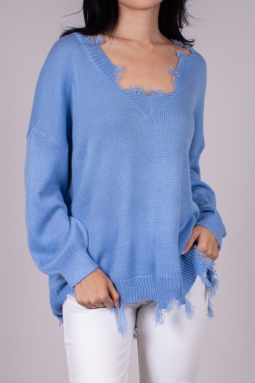 Destroyed Sweater - Ice Blue