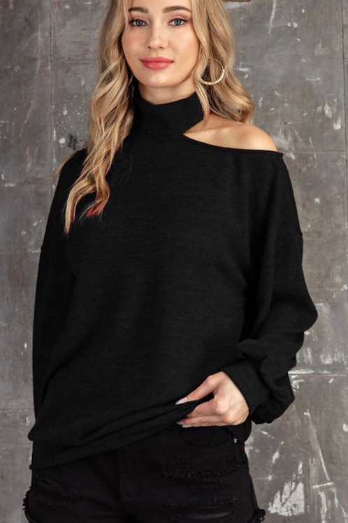 Mock Neck Cutout Top - Black