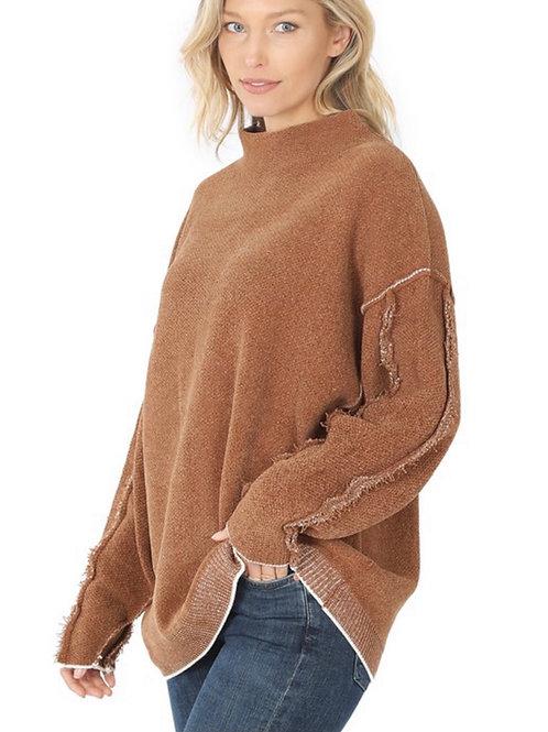 Mock Neck Raw Hem Sweater
