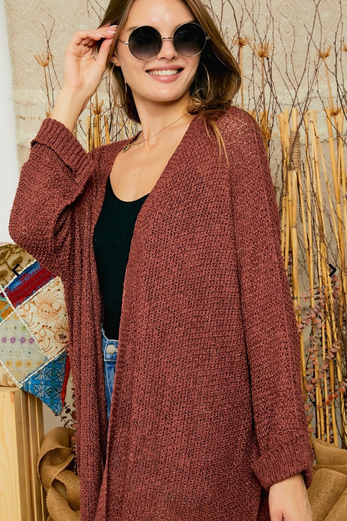 Fall Vibes Cardigan - Rust