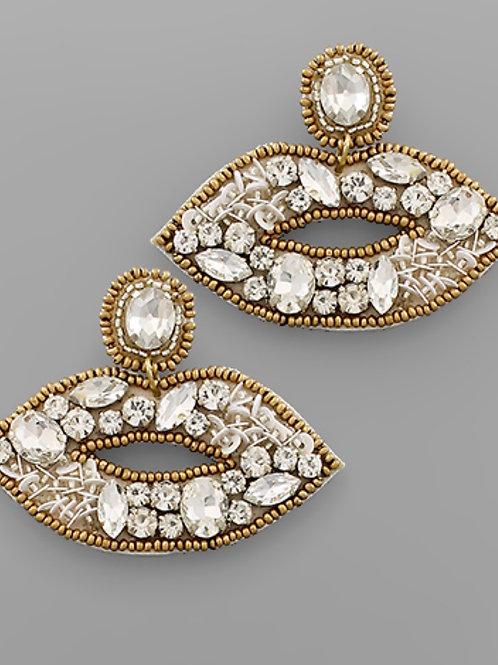 Crystal Beaded Lip Earrings