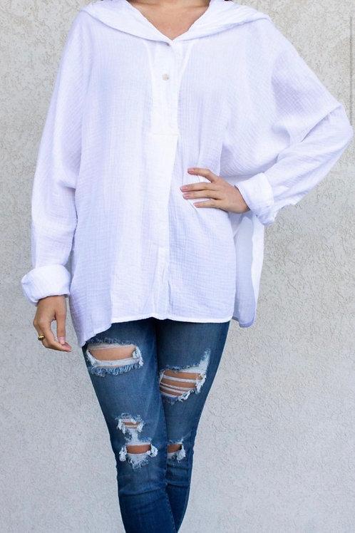 Hooded Gauze Long Sleeve Top