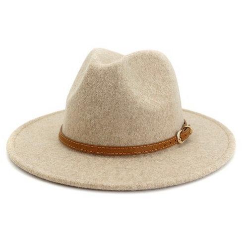 Wide Brim Felt Hat - Leather Strap