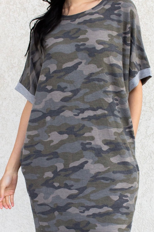 Camo French Terry Tunic Dress