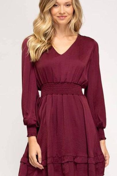 Crimson Smocked Waist Dress
