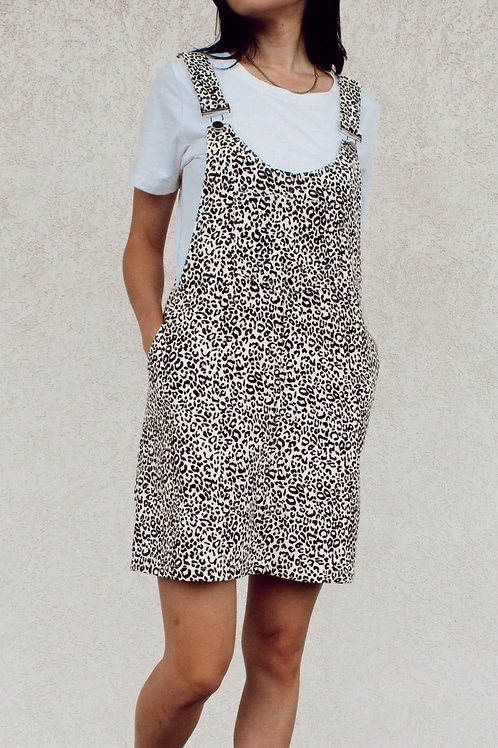 Cheetah Print Corduroy Overall Dress