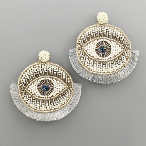 Silver Beaded Disk Evil Eye Earrings