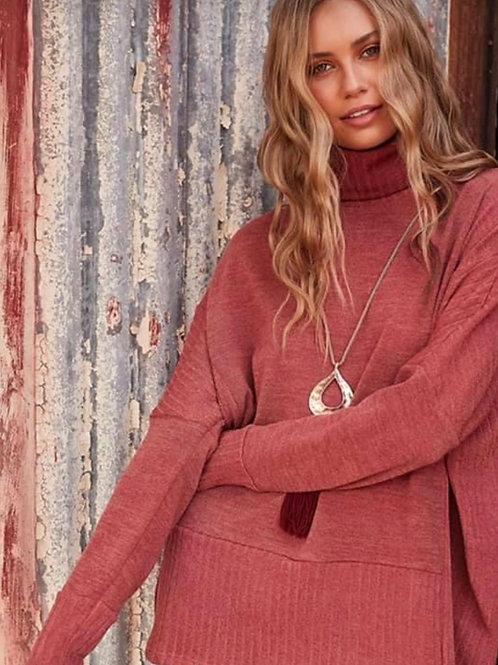 Mock Neck Sweater - Cozy Crimson