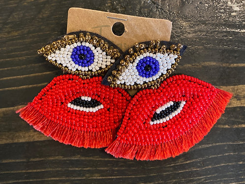 Evil Eye + Lips Earrings