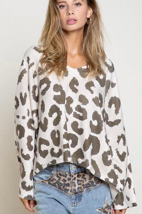 Leopard Print Oversize Sweater