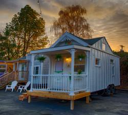 cottage tiny house sunset