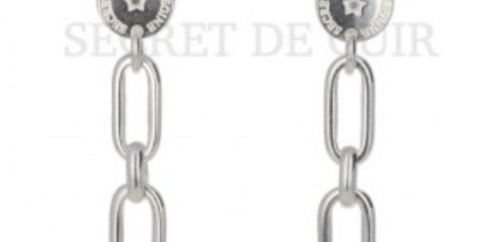 Boucles d'oreilles cascade rectangle argent Secret De Cuir