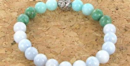 Bracelet GOSHO Aigue Marine, Amazonite du Pérou et Howlite Turquoise