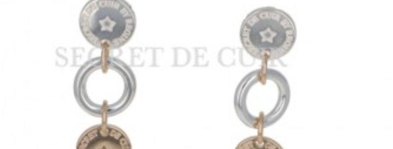 Boucles d'oreilles bouée logo or et argent Secret De Cuir