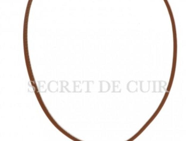 Collier rond cuir barre argent Secret De Cuir
