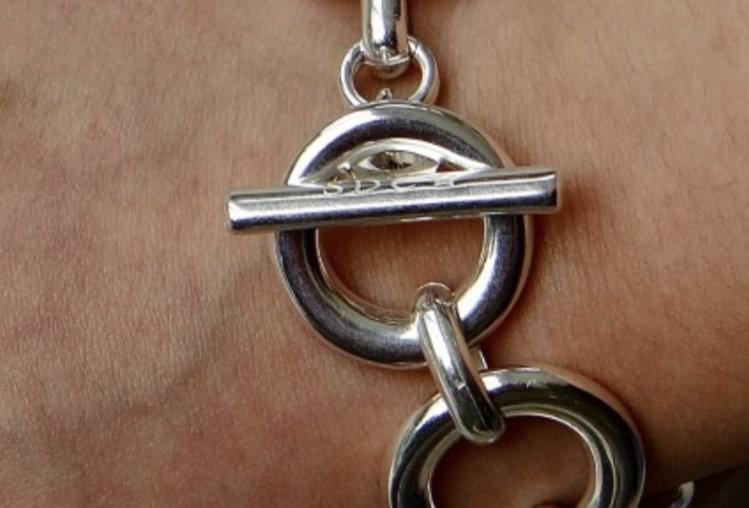 Bracelet mailles rondes argent Secret De Cuir