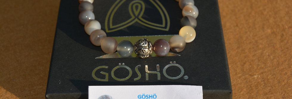 Bracelet GOSHO Agate du Botswana mate/brillante