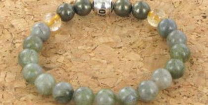 Bracelet GOSHO Labradorite, la Pyrite et Quartz Rutil