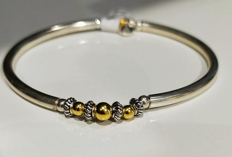 Bracelet semi-rigide argent et plaqué or Sable chaud