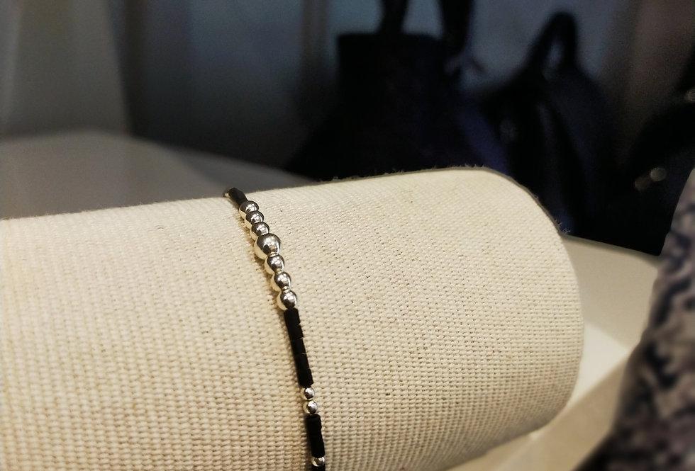 Bracelet argent et noir Sable chaud
