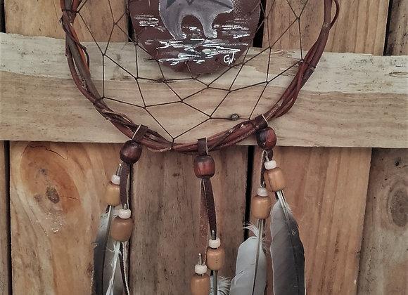 Attrape rêves  naturel, saule, perles bois, peinture sur cuir - ref: DC 201201