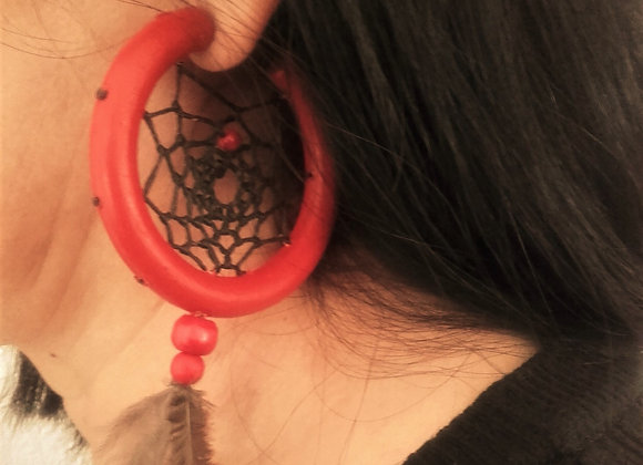 Boucles d'oreilles, attrape-rêves sur demi créole rouge - ref: BO 25 DC