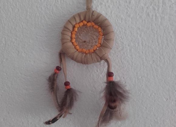 Attrape rêves cuir beige, perles oranges  - ref: DC 180705