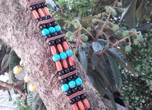 Bracelet style Amérindien, 3 rangs, corne,  howlite turquoise - Ref: B 227