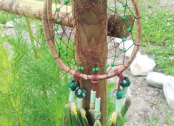 Attrape rêves  cercle en saule, perles céramique vertes et cuir - ref: DC 180701