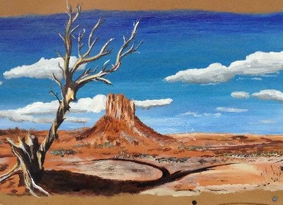 Navaho land - peinture originale sur cuir Monument Valley