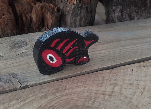 Ours en bois peint style Haïda - petite taille - ref: HB 1