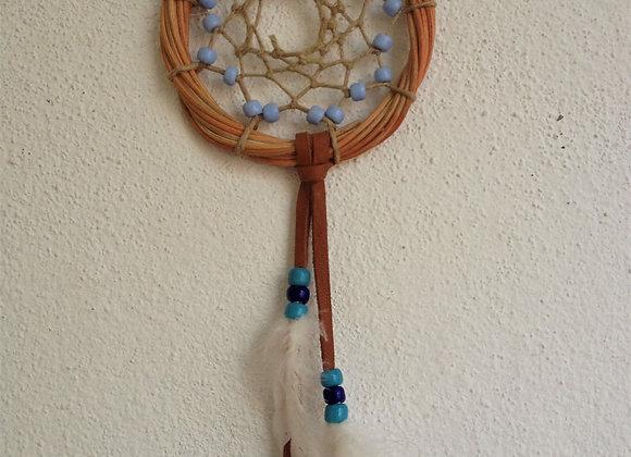 Attrape rêves naturel perles bleues - ref: DC 150504