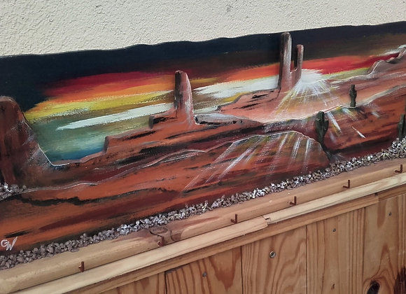 Nightfall in Utah - peinture sur bois - relief