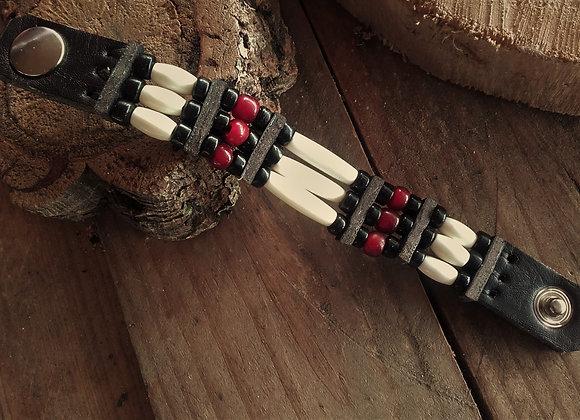 Bracelet os, noir et bordeaux  - Ref: B 321