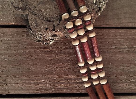 Bracelet style Amérindien, 3 rangs, perles bois - Ref: B 239