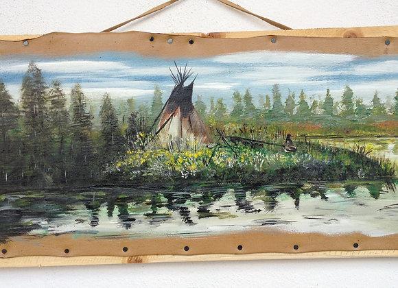 """""""Along the river"""" peinture sur cuir originale"""