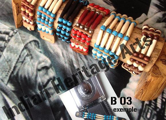 Bracelet Amérindien, 3 rangs, SUR COMMANDE à personnaliser - ref: B 03