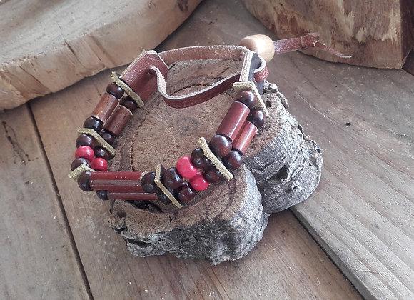 Bracelet style amérindien - perles bois, 2 rangs - Ref: B 332